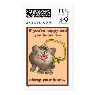 Cartoon Pig 1 Custom Postage Stamps