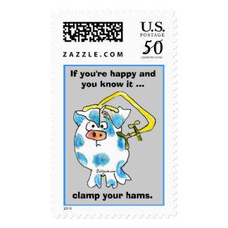 Cartoon Pig 2 Custom Postage Stamps