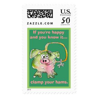 Cartoon Pig 3 Custom Postage Stamps