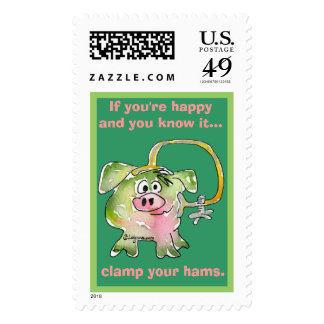 Cartoon Pig 3 Custom Postage Stamps