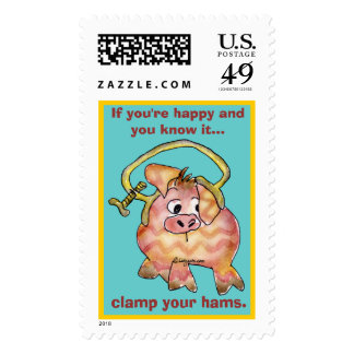 Cartoon Pig 7 Custom Postage Stamps
