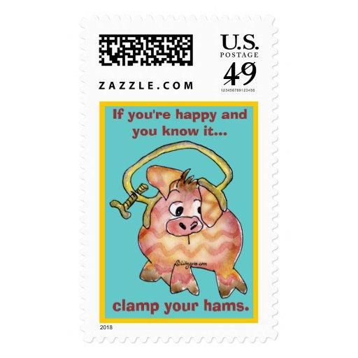 Cartoon Pig 7 Custom Postage Stamps