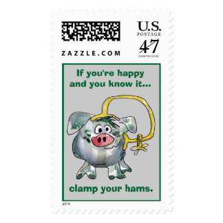 Cartoon Pig 8 Custom Postage Stamps