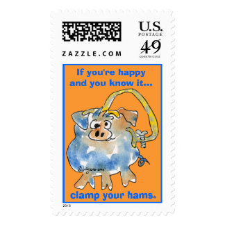 Cartoon Pig 9 Custom Postage Stamps