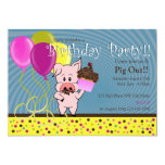 "cartoon pig birthday invitation 5"" x 7"" invitation card"