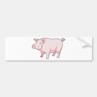 Cartoon Pig Bumper Sticker