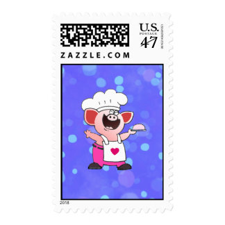 Cartoon Pig Chef | Cute Cartoon Pig Can Cook Postage Stamp