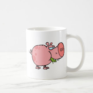 Cartoon Pig Chewing Grass Coffee Mug