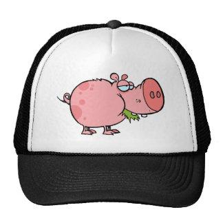 Cartoon Pig Chewing Grass Trucker Hat