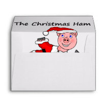 Cartoon Pig Christmas Envelope
