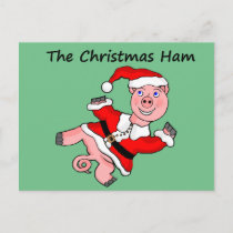 Cartoon Pig Christmas Holiday Postcard