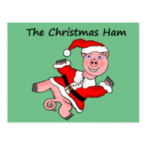 Cartoon Pig Christmas Postcard