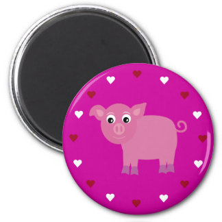 Cartoon Pig & Hearts Customizable Pink Charity 2 Inch Round Magnet