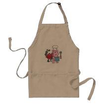 Cartoon pig making bbq | choose background color adult apron