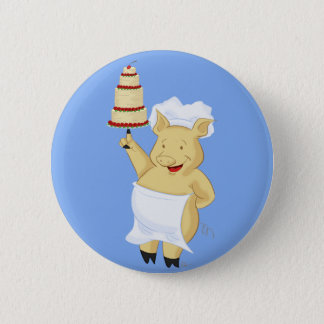 Cartoon Pig Pastry Chef Button