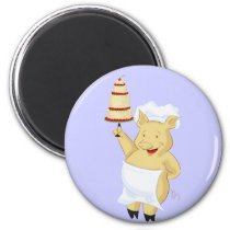 Cartoon Pig Pastry Chef Magnet