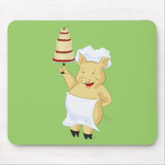Cartoon Pig Pastry Chef Mouse Pad