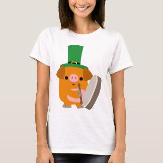 Cartoon Pig playing Bodhran St Patty womanT-shirt T-Shirt