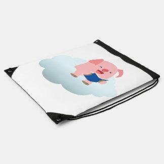 Cartoon Pig Reader on Cloud Drawstring Backpack