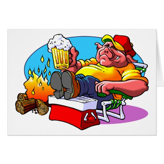 Cartoon Pig Roast Card