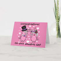 Cartoon Pig Wedding Card
