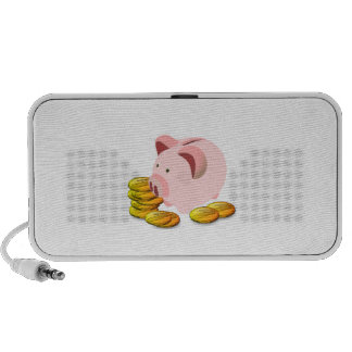 Cartoon Piggy Bank and Golden Coins Travelling Speaker