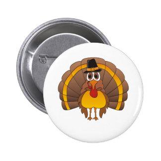 Cartoon Pilgrim Turkey Button