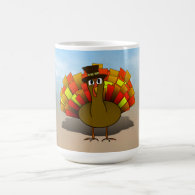 Cartoon Pilgrim Turkey Classic White Coffee Mug