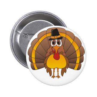 Cartoon Pilgrim Turkey Pinback Button