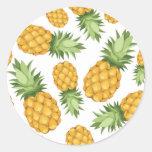 Cartoon Pineapple Pattern Classic Round Sticker