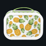 """Cartoon Pineapple Pattern Lunch Box<br><div class=""""desc"""">Vector seamless background with pineapples on a white background. &#169; and &#174; Bigstock&#174; - All Rights Reserved.</div>"""