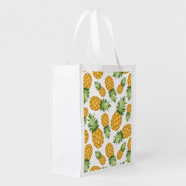 Cartoon Pineapple Pattern Market Tote | Zazzle Reusable Grocery Bag Pattern
