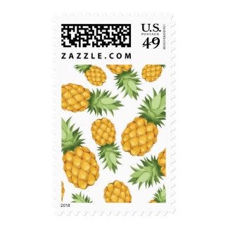 Cartoon Pineapple Pattern Postage Stamps
