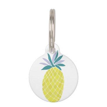 Beach Themed Cartoon Pineapple Pet Tag