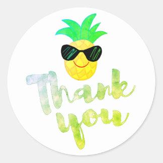cartoon pineapple thank you classic round sticker