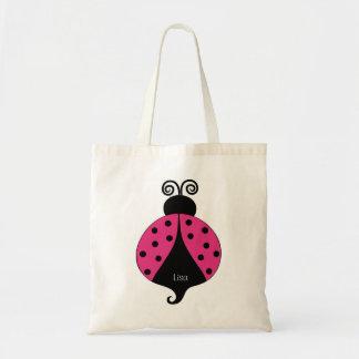 Cartoon Pink and Black Ladybug Bag