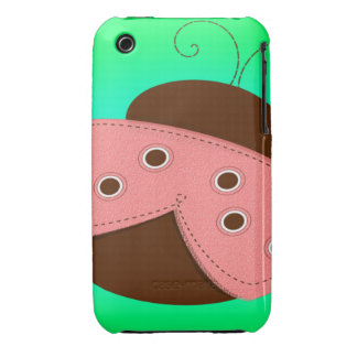 Cartoon Pink Brown Ladybug on a Turquoise Backgr iPhone 3 Case