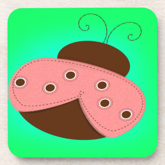 Cartoon Pink & Brown Ladybug on a Turquoise Backgr Coaster