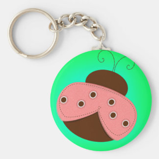Cartoon Pink & Brown Ladybug on a Turquoise Backgr Basic Round Button Keychain