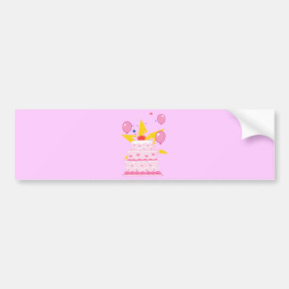 cartoon-pink--cake.png Girly Layered Cake Party Bumper Sticker
