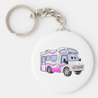 Cartoon Pink Camper Basic Round Button Keychain