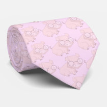 Cartoon Pink Chinese Year of the Pig Neck Tie