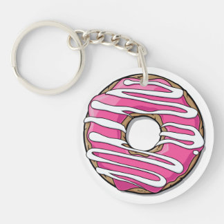 Cartoon Pink Donut with Icing Keychain