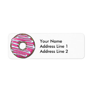 Cartoon Pink Donut with Icing Label
