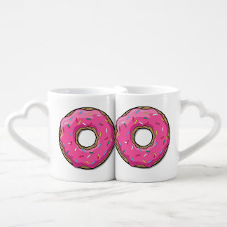 Cartoon Pink Donut With Sprinkles Coffee Mug Set