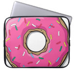 Cartoon Pink Donut With Sprinkles Computer Sleeves