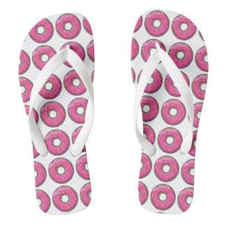 Cartoon Pink Donut With Sprinkles Flip Flops