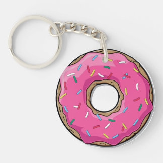 Cartoon Pink Donut With Sprinkles Keychain