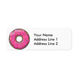 Cartoon Pink Donut With Sprinkles Label