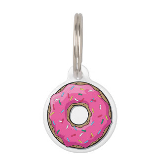 Cartoon Pink Donut With Sprinkles Pet Name Tag